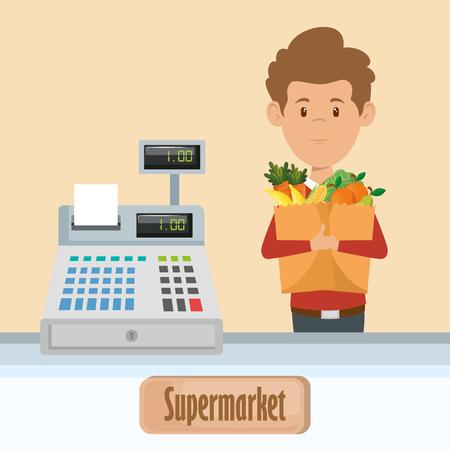 Ein Mann mit einer Einkaufstasche voll von Lebensmittelgeschäften im Supermarktvektorillustrationsdesign