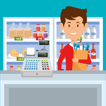 Man with supermarket groceries in shopping bag vector illustration design