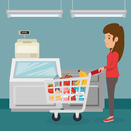 A woman with supermarket pushcart full of groceries vector illustration design
