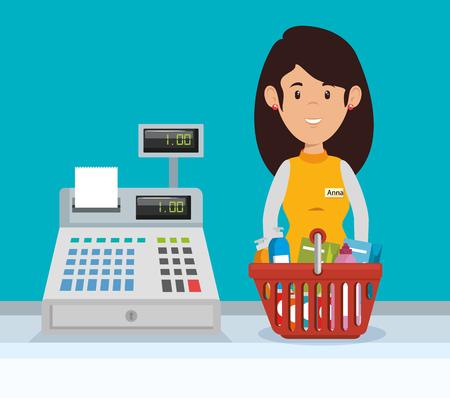 A supermarket woman representative in character vector illustration design