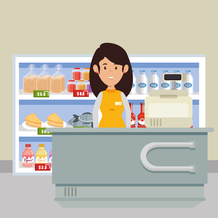 A supermarket attendant woman character vector illustration design Stock Illustratie