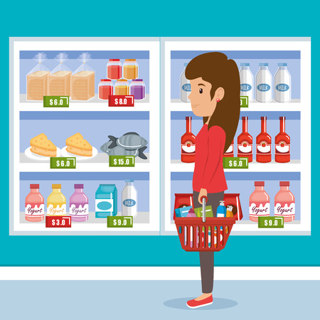 Woman with supermarket groceries vector illustration design Illustration