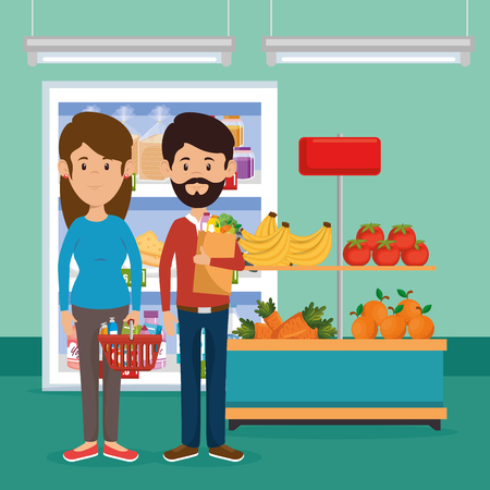 Couple with supermarket groceries vector illustration design Illustration