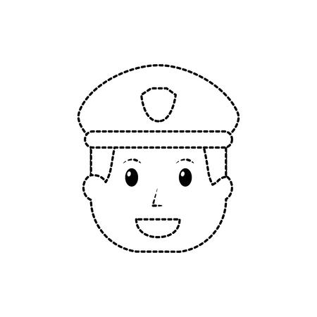 Policeman smiling icon image vector illustration design black dotted line