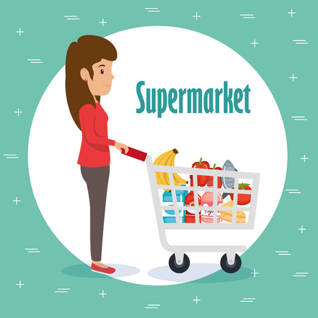 Woman with supermarket groceries vector illustration design Vectores
