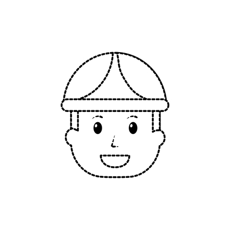 Engineer or contractor icon image vector illustration design black dotted line