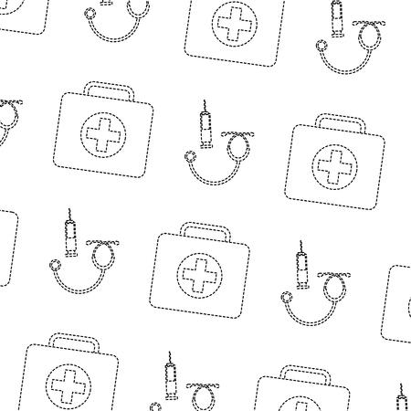 Syringe first aid kit stethoscope healthcare pattern image vector illustration design black dotted line Illustration