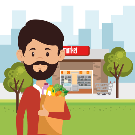 A man with supermarket groceries in shopping bag vector illustration design