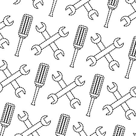 Wrench screwdriver tools pattern image vector illustration design black dotted line Illustration