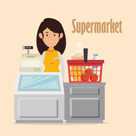 Ontwerp van de het karakter het vectorillustratie van de supermarktverkoper Stock Illustratie