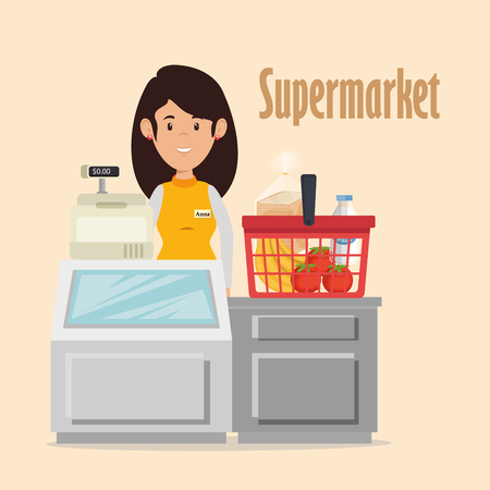 Supermarket seller character vector illustration design