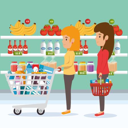 Woman with supermarket groceries vector illustration design Illustration