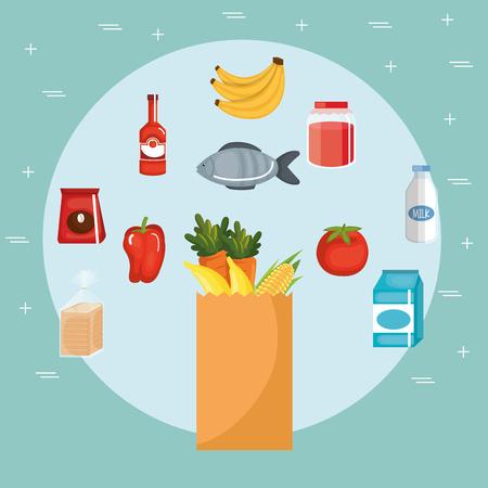 Supermarket groceries set icons vector illustration design