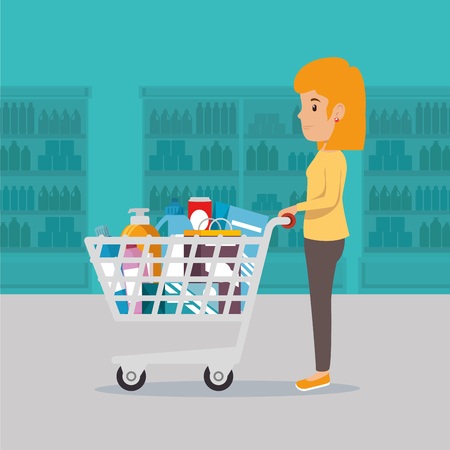 Woman with supermarket pushcart full of groceries vector illustration design Illustration