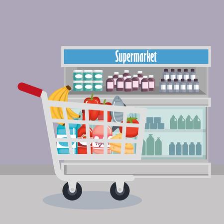 Supermarket pushcart full of groceries set icons vector illustration design