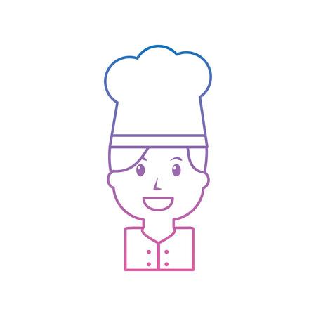 Chef happy icon image vector illustration design purple to blue hombre line Illustration