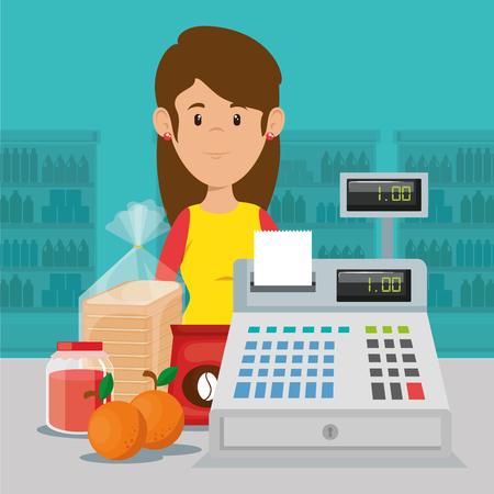 Supermarket seller woman character vector illustration design Illustration