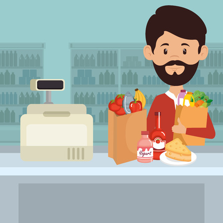 A man in the supermarket carrying a shopping bag  full of groceries, vector illustration design