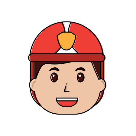 消防士ハッピーアイコン画像ベクトルイラストデザイン