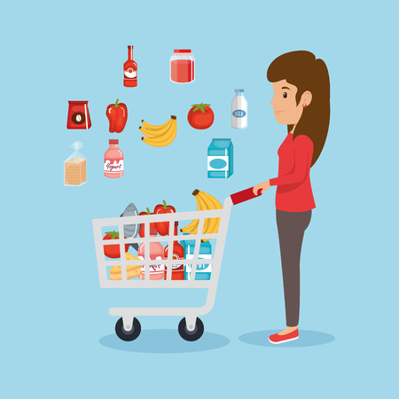 a woman in the supermarket with pushcart full of  groceries vector illustration design