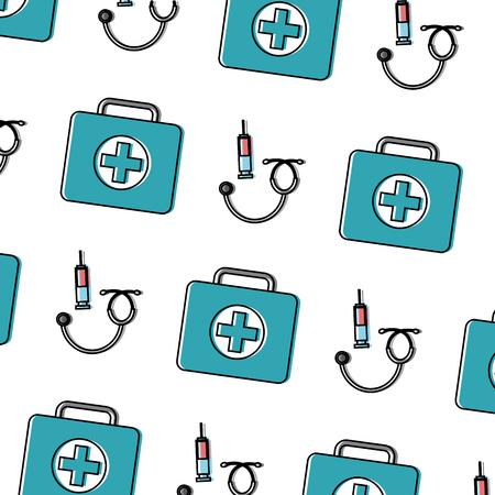 syringe first aid kit stethoscope healthcare pattern image vector illustration design