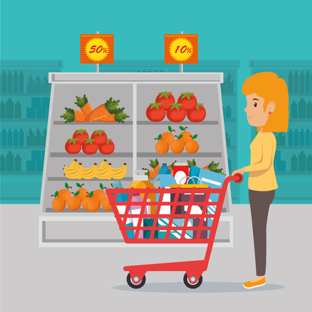 A woman with supermarket pushcart full of groceries, vector illustration design