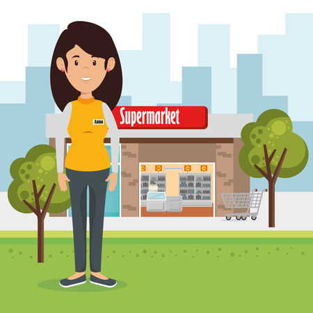 Supermarket seller woman character vector illustration design Stock Illustratie