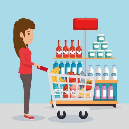 Woman with groceries vector illustration design Illustration