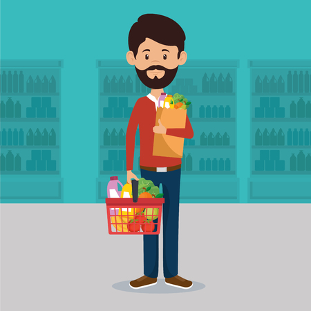 Man with supermarket groceries in shopping bag vector illustration design