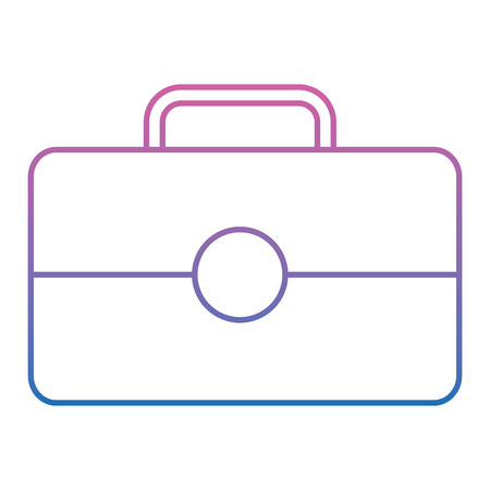 briefcase business icon image vector illustration design  purple to blue ombre line  イラスト・ベクター素材