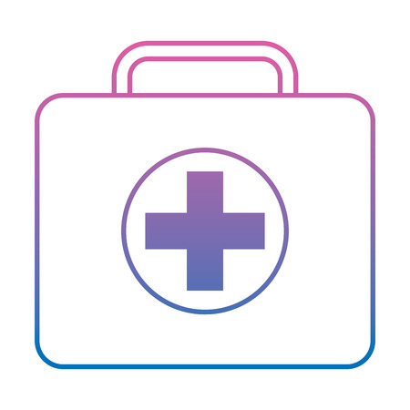 first aid kit icon image vector illustration design  purple to blue ombre line 向量圖像
