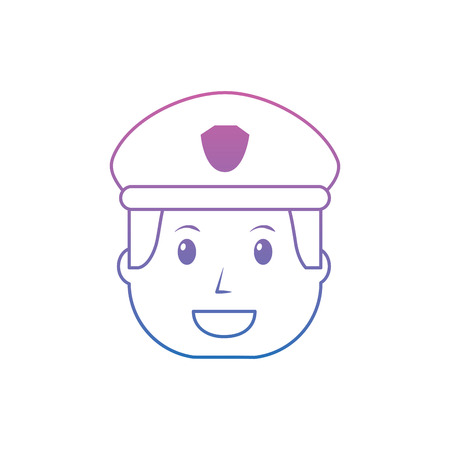Policeman smiling icon image. Vector illustration design purple to blue ombre line