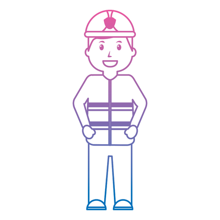 Firefighter happy icon image vector illustration design purple to blue hombre line Illustration