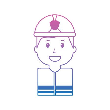 Firefighter happy icon image vector illustration design purple to blue hombre line Illustration
