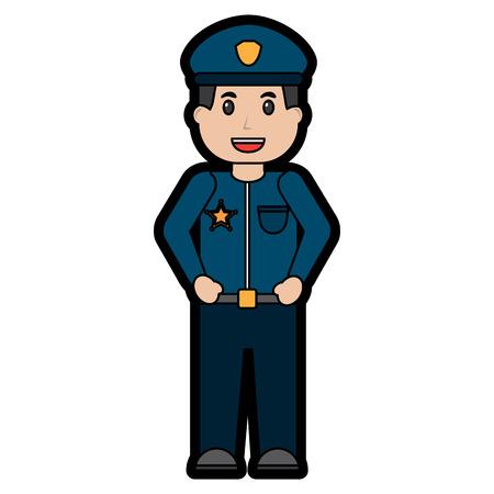 경찰관 웃는 아이콘 이미지 벡터 일러스트 디자인
