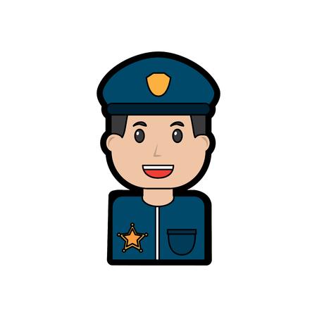 Diseño de ilustración de vector de imagen de icono de policía sonriente Foto de archivo - 96596335