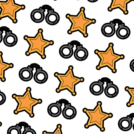 sheriff star and handcuffs police pattern image vector illustration design Illustration