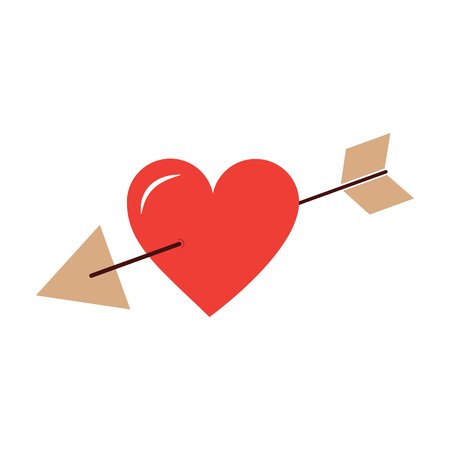 Arrow through heart cupid valentines day icon image vector illustration design Ilustração