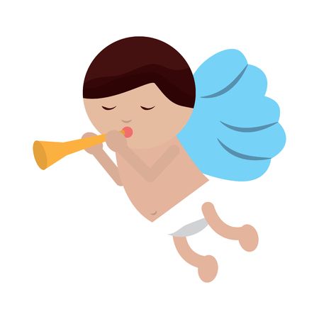 baby angel playing horn  icon image vector illustration design