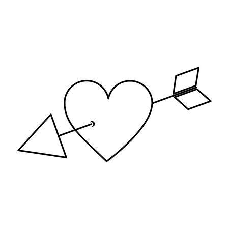 arrow through heart cupid valentines day icon image vector illustration design 일러스트