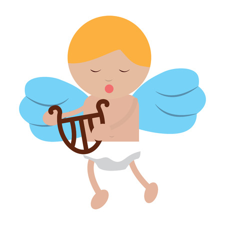 Baby angel playing harp lyre icon image vector illustration design