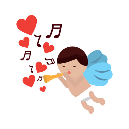cupid playing horn hearts valentines day icon image vector illustration design