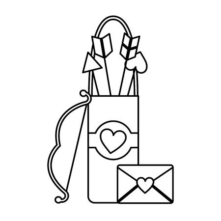 arrow holder cupid valentines day icon image vector illustration design Illustration
