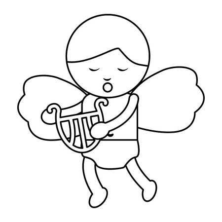 baby angel playing harp lyre  icon image vector illustration design Ilustracja