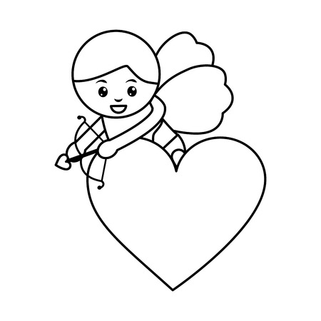 Cupid holding bow and arrow on heart valentines day icon image vector illustration design