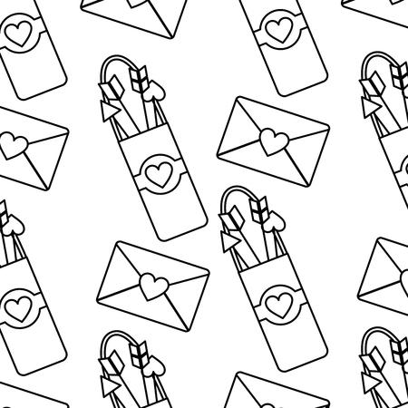 Arrow holder love letter cupid valentines day pattern image vector illustration design Imagens - 96588872