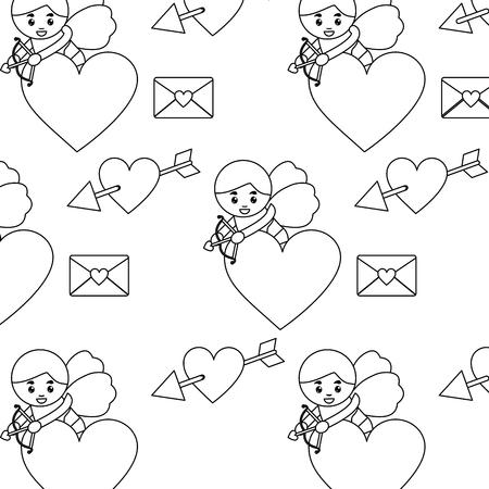 Cupid heart love letter valentines day pattern image vector illustration design Иллюстрация