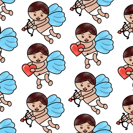 cupid valentines day pattern image vector illustration design  sketch line