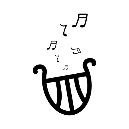 Lyre harp musical instrument icon image vector illustration design black and white  イラスト・ベクター素材
