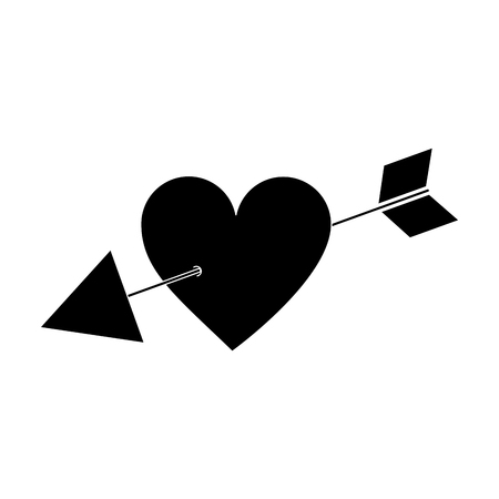 arrow through heart cupid valentines day icon image vector illustration design  black and white Illustration